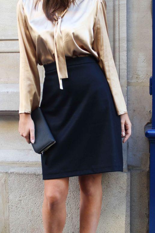 Jupe droite en laine noire mode créateur femme Paris