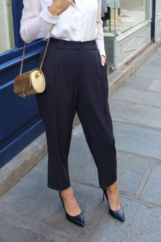 Pantalon à pinces bleu mode créateur femme Paris
