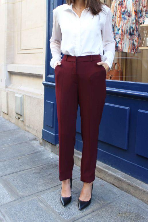 Pantalon droit bordeaux mode créateur femme Paris