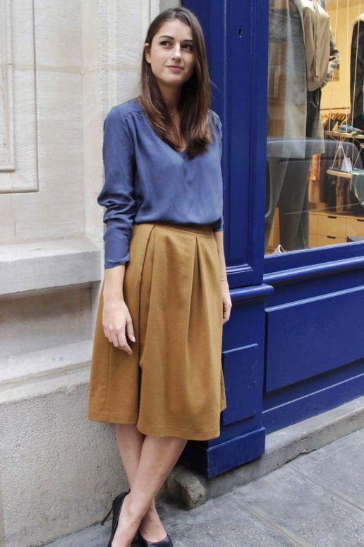 jupe plissée laine camel mode femme createur paris SOLENE MARTIN